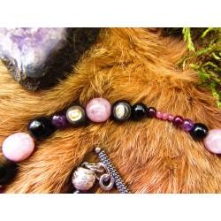 """Bracelet en pierre naturelles kunzite et améthyste """"La lune rose"""""""