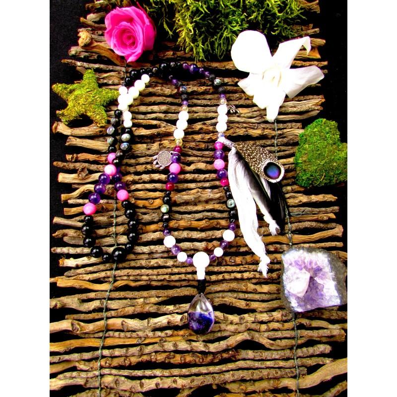 """Mala 108 perles chamanique quartz lodolite et plumes """"Shamanic dream"""""""