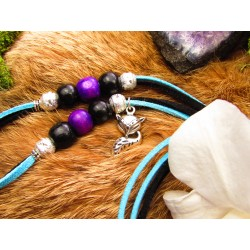 "Collier ethnique plumes totem renard ""Night of silence"""