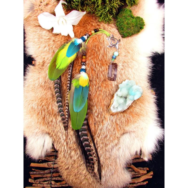 """Bijou de cheveux plumes naturelles et tortue """"Paradisiaque"""""""
