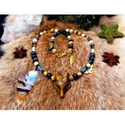 """Collier ethnique plumes totem renard """"Mystic fox"""""""