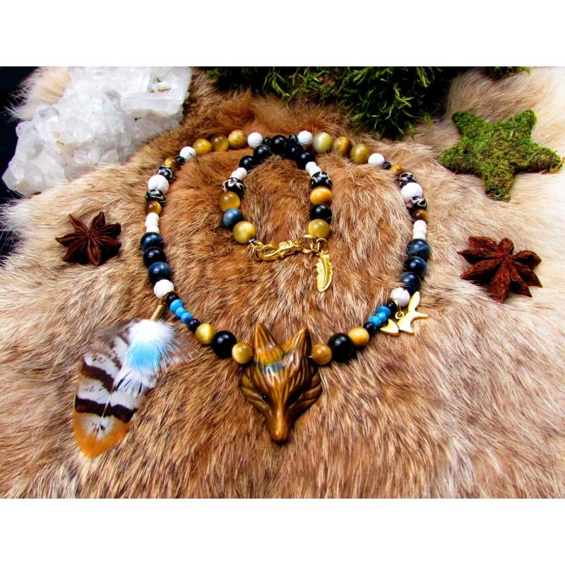 "Collier ethnique plumes totem renard, fluorite ""Celestial"""