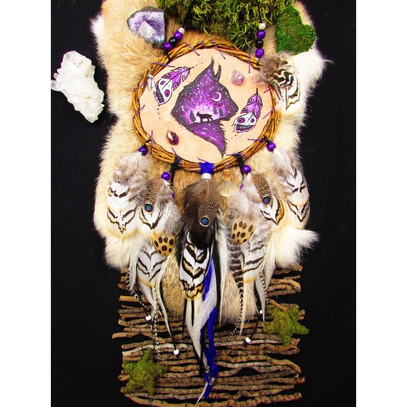 """Mandella chamanique totem lynx """"Un lynx au coeur d'améthyste"""""""