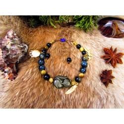 "Bracelet en pierre naturelles et renard en obsidienne dorée ""Golden light"""