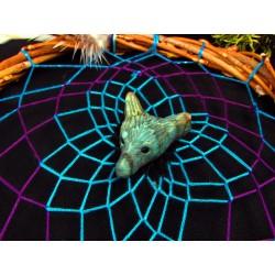 "Attrape rêves artisanal  avec loup, labradorite et améthyste ""Angel wolf"""