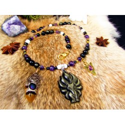 "Collier ethnique plumes totem renard et obsidienne dorée ""Magic fox"""