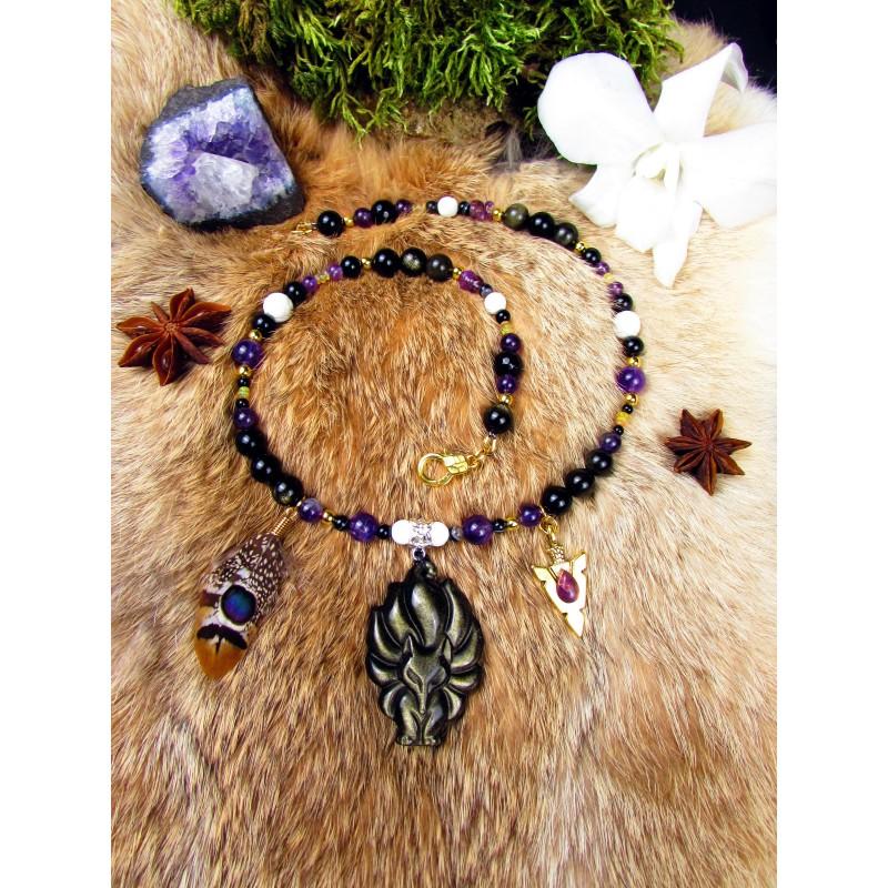 """Collier ethnique plumes totem renard et obsidienne dorée """"Magic fox"""""""