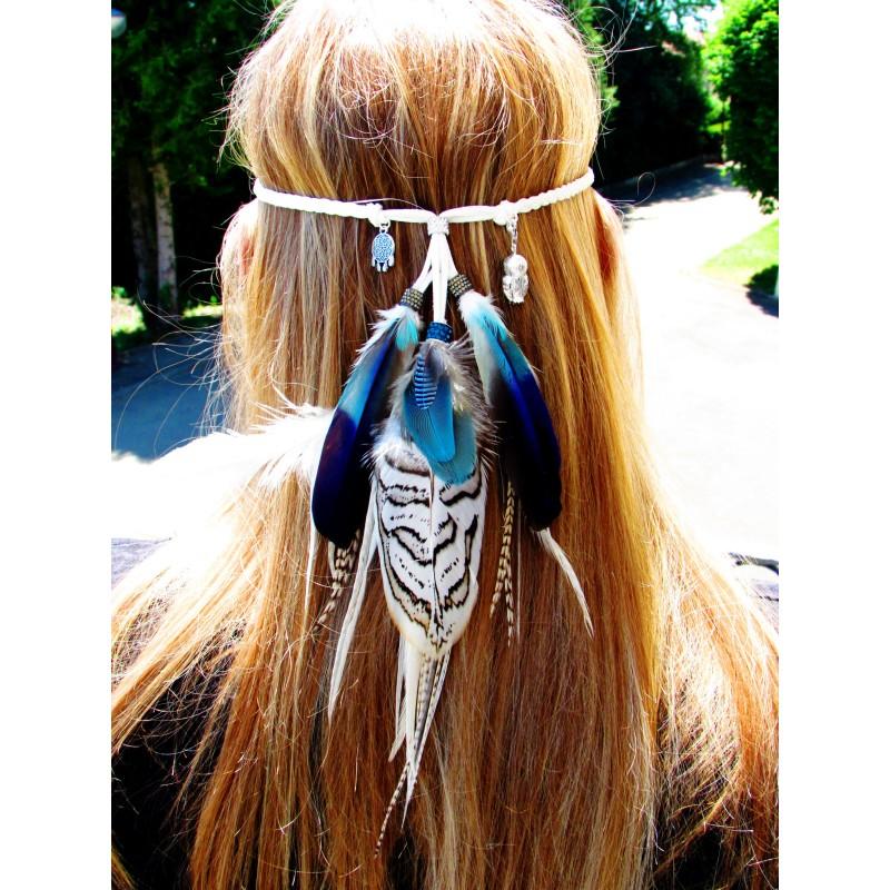 """Headband plumes naturelles totem chouette et lapis lazuli """"La sagesse de l'univers"""""""