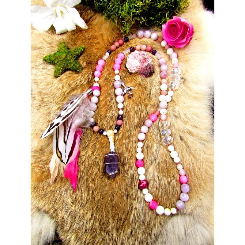 """Mala 108 perles chamanique scapolite violette et kunzite """"Le chant du coeur"""""""