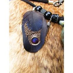 "Collier ethnique fiole raku corbeau et plumes ""Black eye"""