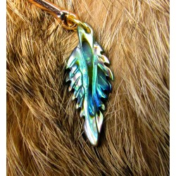 """Ear cuff plumes naturelles totem perroquet """"Le perroquet d'or"""""""