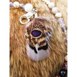 """Collier ethnique perles plumes et coquillage """"Ocean lover"""""""