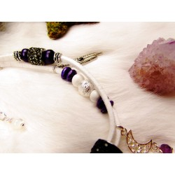 """Bracelet de cheville ethnique plumes corbeau et améthyste """"White raven"""""""