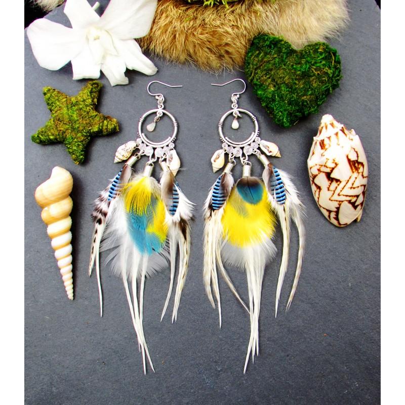 """Boucles d'oreilles plumes ethniques opale """"Vamos a la playa"""""""