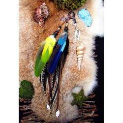 """Bijou de cheveux plumes naturelles, tortue et aigue marine """"Jungle turtle"""""""