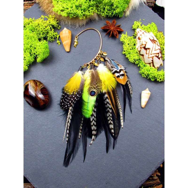 "Ear cuff plumes naturelles totem perroquet ""Color your life"""