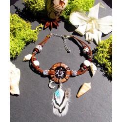 """Bracelet de cheville ethnique plumes opale et coquillage """"White beach"""""""