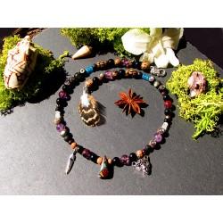 """Collier ethnique perles plumes et opale boulder """"Terre d'opale"""""""