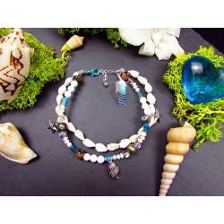 """Bracelet de cheville ethnique plumes et coquillages """"Grain de sable"""""""