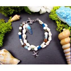 """Bracelet femme ethnique plumes et coquillages """"Grain de sable"""""""