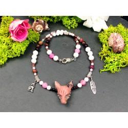 """Collier ethnique totem loup et opale rose des andes """"La vie en rose"""""""