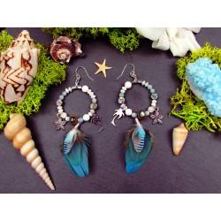 """Boucles d'oreilles ethniques créoles plumes et coquillage """"Coconut and beach"""""""