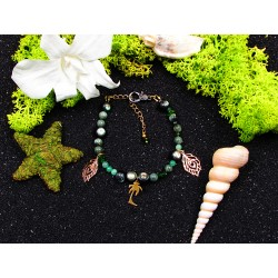 """Bracelet ethnique femme abalone et séraphinite """"Forgiveness"""""""