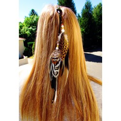 "Bijou de cheveux plumes naturelles totem renard ""Renard malin"""