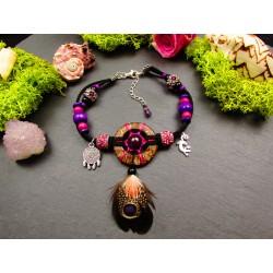 """Bracelet de cheville ethnique plumes rubis et salamandre """" La salamandre rose"""""""