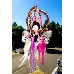 """Attrape rêves artisanal 3D bois totem éléphant et quartz rose """"Un amour d'éléphant"""""""