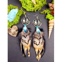 """Boucles d'oreilles plumes totem loup """"Eternal wolf"""""""