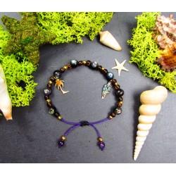 """Bracelet ethnique macramé en abalone et bois """"Palm beach"""""""