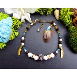"""Bracelet de cheville ethnique plumes et hibou """"Wise owl"""""""