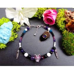 """Bracelet de cheville ethnique plumes et loup """"Les secrets d'une louve"""""""