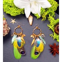 """Boucles d'oreilles créoles plumes et abalone """"Princesse des îles"""""""
