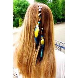 """Bijou de cheveux plumes naturelles perroquet """"Moorea lagoon"""""""