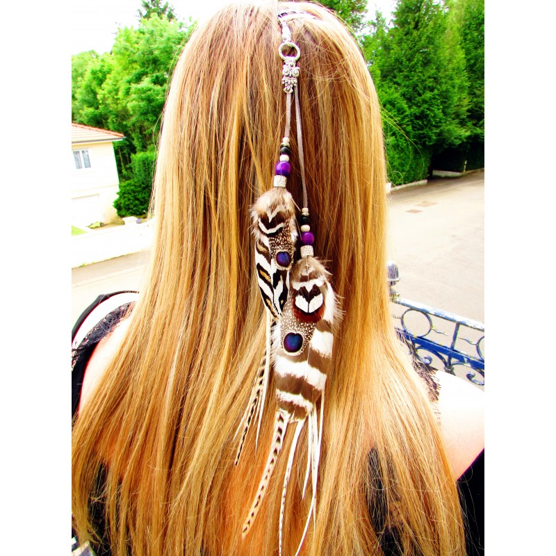 Bijoux de cheveux ethnique plumes naturelle